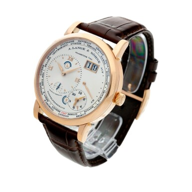 View 2. Thumbnail of Lot 17. Reference 116.032 Lange 1 Time Zone  A pink gold world time wristwatch with date and power reserve, Circa 2010.