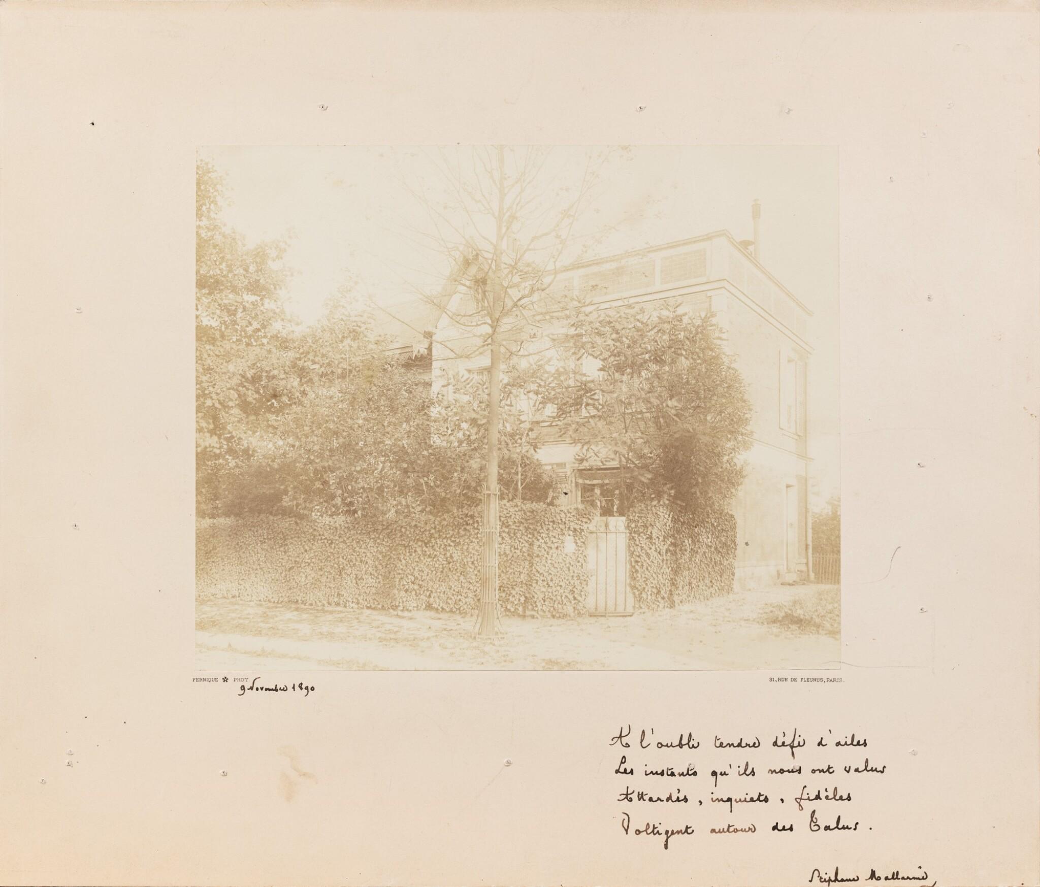 View full screen - View 1 of Lot 134. Quatrain autographe à Mery Laurent (nov. 1890), sous la photo de sa maison qui allait être détruite..