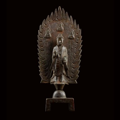 View 1. Thumbnail of Lot 76. A MAGNIFICENT, LARGE AND EXTREMELY RARE BRONZE VOTIVE FIGURE OFMAITREYA NORTHERN WEI DYNASTY, DATED 3RD YEAR OF THE JINGMING PERIOD (IN ACCORDANCE WITH 502) | 北魏 銅彌勒佛立像 《景明三年四月二十日》款.