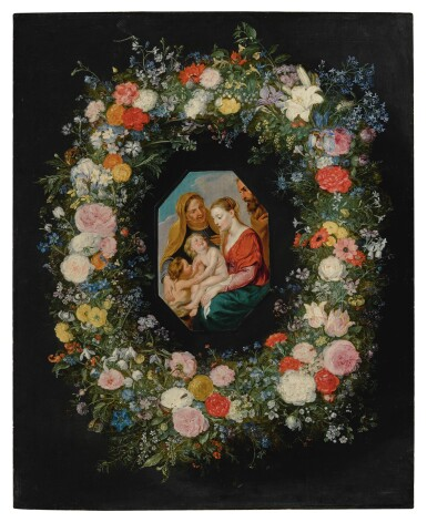 View 1. Thumbnail of Lot 595. Holy Family within a floral garland.