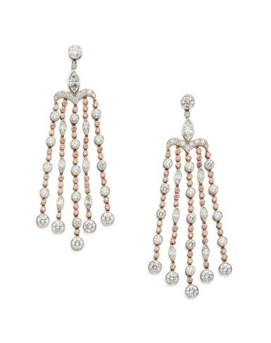 PAIR OF COLORED DIAMOND AND DIAMOND PENDANT-EARRINGS, TIFFANY & CO.