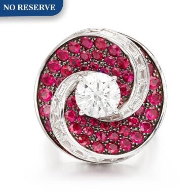 View 1. Thumbnail of Lot 1028. 'Double Swirl' Diamond and Ruby Ring | 格拉夫| 'Double Swirl' 2.08克拉 圓形 G色 鑽石 配 紅寶石 戒指 (鑽石及紅寶石共重約3.60及5.70克拉).