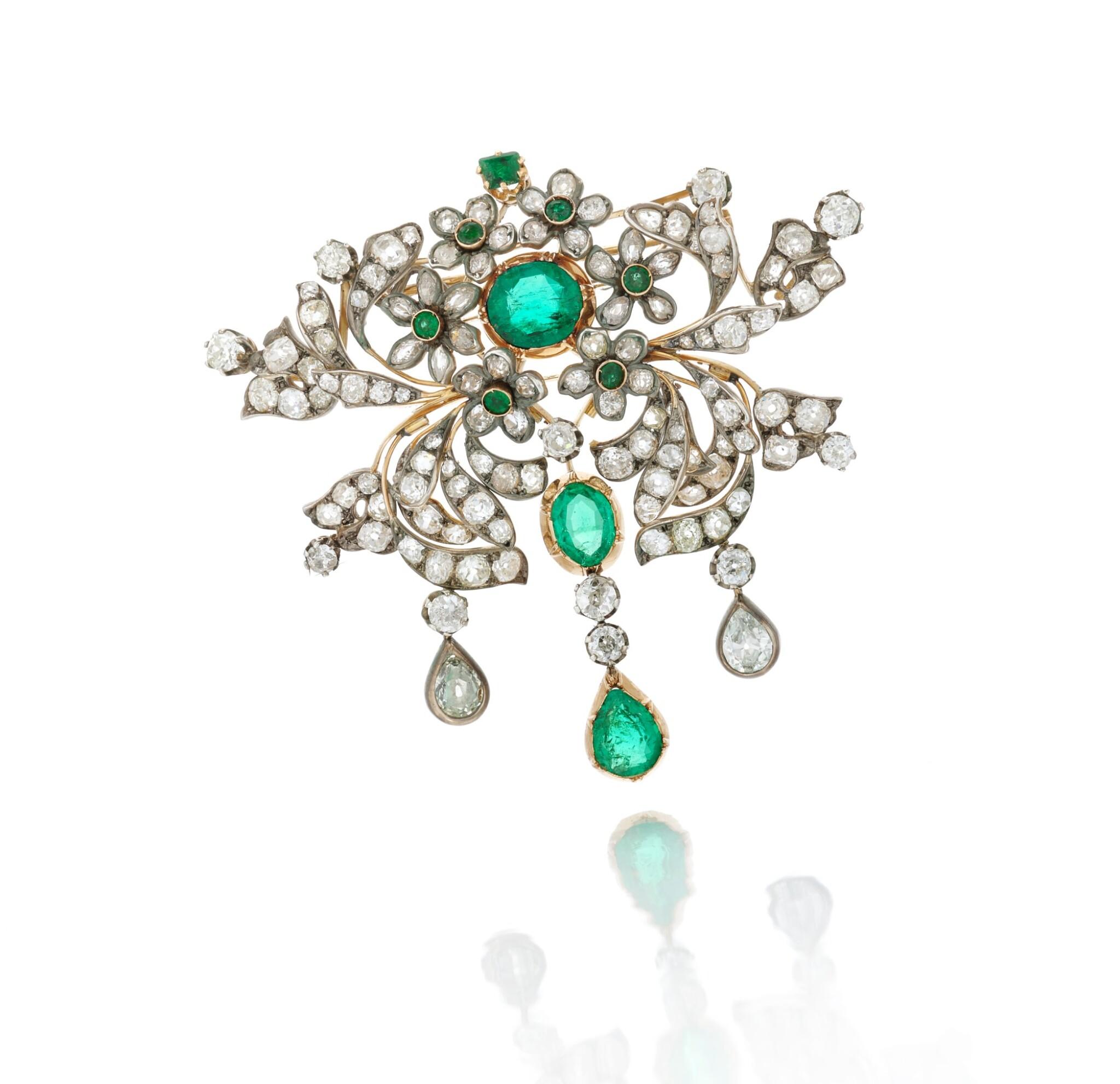 View 1 of Lot 6. Emerald and diamond pendant-necklace (Collana con pendente in smeraldi e diamanti), 1890.