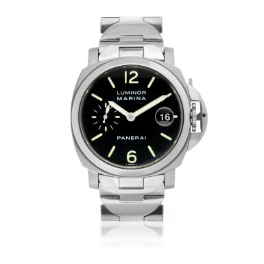 View 1. Thumbnail of Lot 104. PANERAI | REF OP 6560 LUMINOR MARINA, A STAINLESS STEEL AUTOMATIC WRISTWATCH WITH DATE AND BRACELET CIRCA 2000.