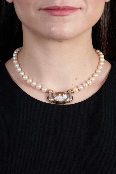 View 4. Thumbnail of Lot 1205. Cultured pearl, cameo, sapphire, ruby and diamond necklace.