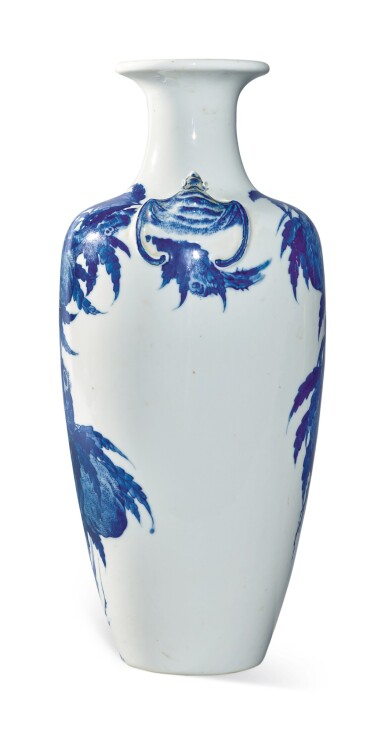 View 4. Thumbnail of Lot 1139. A BLUE AND WHITE 'PEACH' VASE, 19TH / 20TH CENTURY.