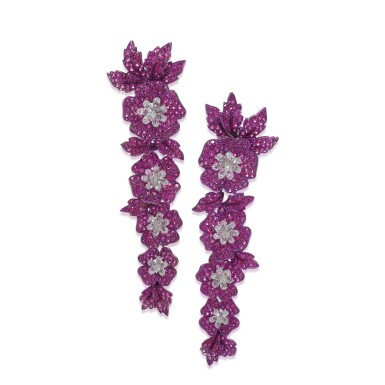 View 1. Thumbnail of Lot 88. Pair of ruby and diamond earrings.