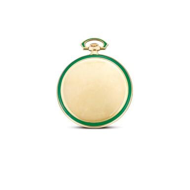 View 2. Thumbnail of Lot 2268. OMEGA | A YELLOW GOLD, BLACK AND GREEN ENAMEL OPENFACE WATCH, CIRCA 1920  | 奧米茄 | 黃金黑色及綠色琺瑯懷錶,機芯編號6337800,錶殼編號6919752,約1920年製.