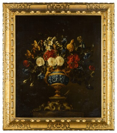 View 6. Thumbnail of Lot 42. A pair of floral still lifes, in lapis and bronze vases on stone plinths | 《靜物畫一對:石基座上的青銅鑲青金石瓶花》.