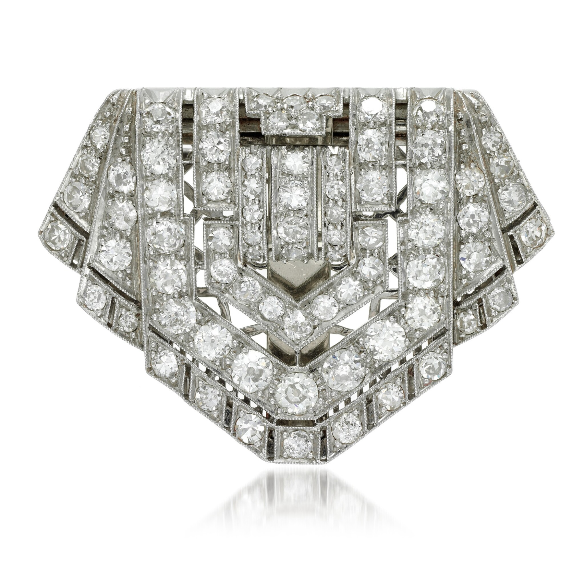 View full screen - View 1 of Lot 124. Diamond clip-brooch, 1920s.