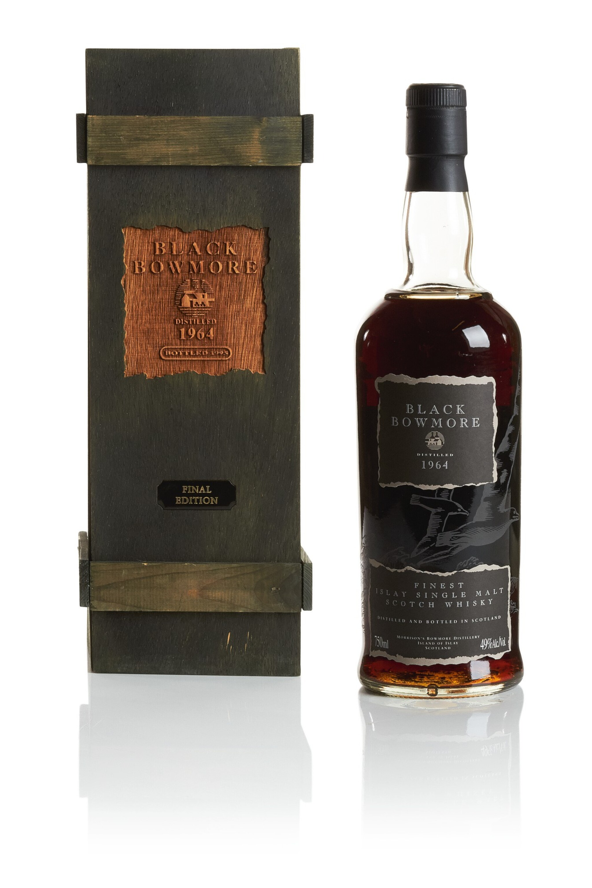 View full screen - View 1 of Lot 322. BOWMORE BLACK FINAL EDITION 49.0 ABV 1964  .