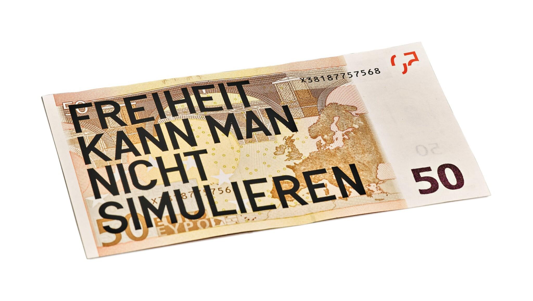 View full screen - View 1 of Lot 13. RIRKRIT TIRAVANIJA | UNTITLED 2008 (50 EURO FREIHEIT KANN MAN NICHT SIMULIEREN).