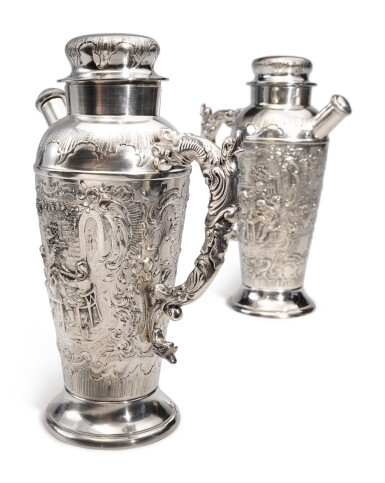 View 2. Thumbnail of Lot 322. A PAIR OF GERMAN SILVER COCKTAIL SHAKERS, MAKER'S MARK WH/H IN CIRCLE, CIRCA 1900.