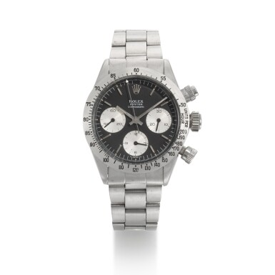 View 1. Thumbnail of Lot 370. ROLEX   REFERENCE 6265 DAYTONA, A STAINLESS STEEL CHRONOGRAPH WRISTWATCH WITH REGISTERS AND BRACELET, CIRCA 1972.