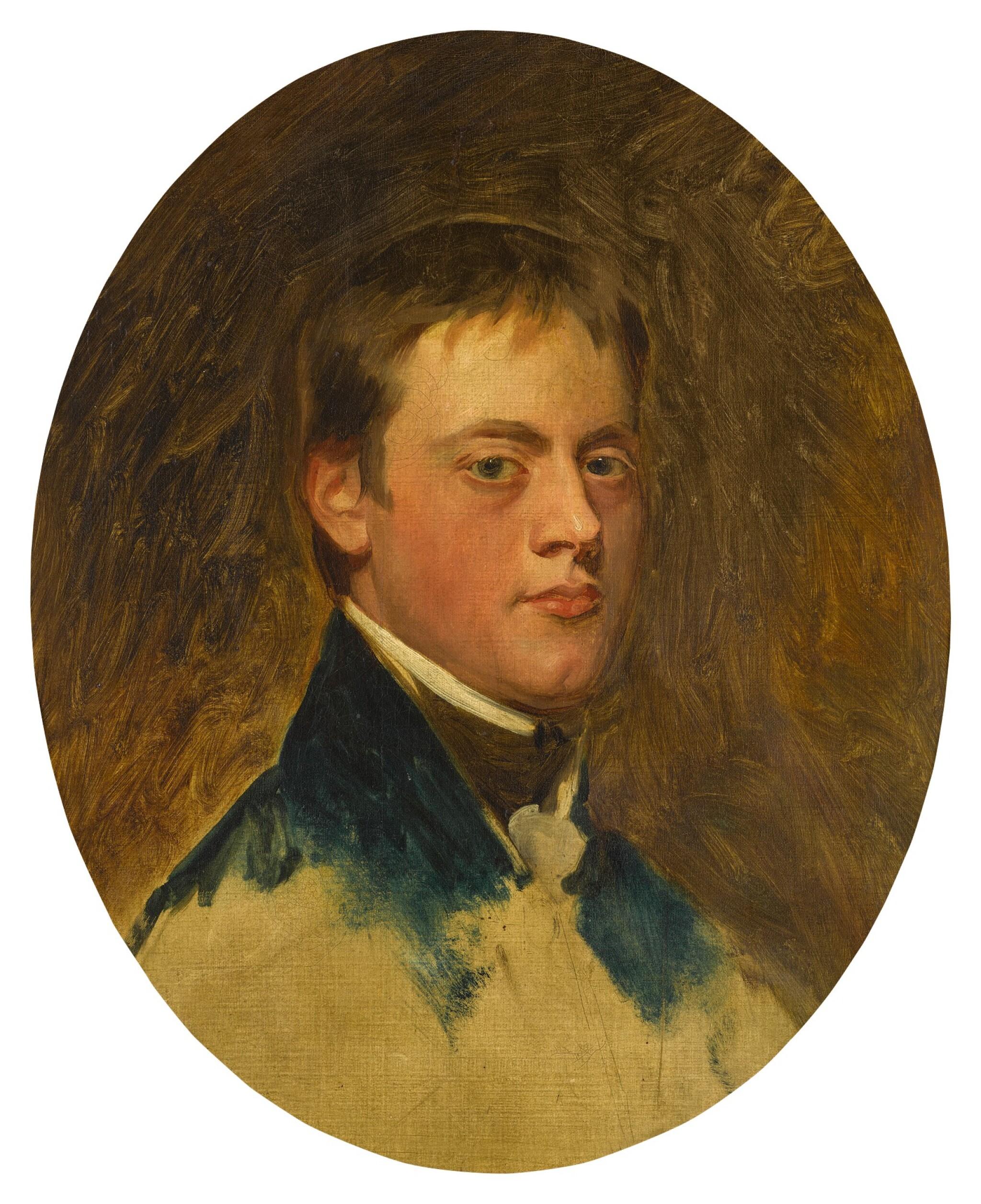 View full screen - View 1 of Lot 172. Portrait study of Norton Joseph Knatchbull (1783-1801), bust-length, wearing a blue coat.
