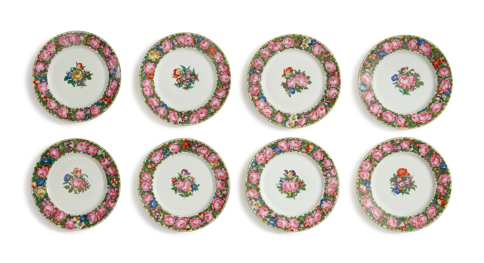 View full screen - View 1 of Lot 259.  A SET OF EIGHT NYMPHENBURG DINNER PLATES, EARLY 20TH CENTURY.