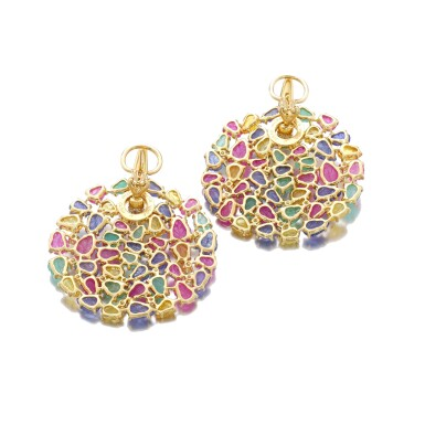View 3. Thumbnail of Lot 37. MICHELE DELLA VALLE | PAIR OF GEM SET AND DIAMOND EARRINGS.