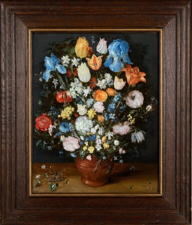 View 2. Thumbnail of Lot 13. A lavish still life of many flowers in a terracotta vase resting on a wooden ledge, flanked by a clump of cyclamen and scattered diamonds and sapphires   《靜物:木檯上赤陶瓶中的絢爛花卉,伴一簇仙客來、幾顆鑽石及藍寶石》.