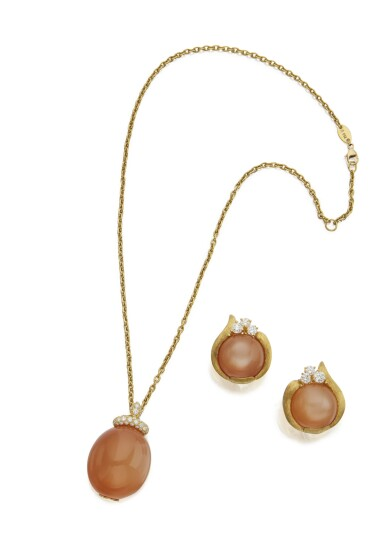 GOLD, MOONSTONE AND DIAMOND PENDANT-NECKLACE AND PAIR OF EARCLIPS, HENRY DUNAY