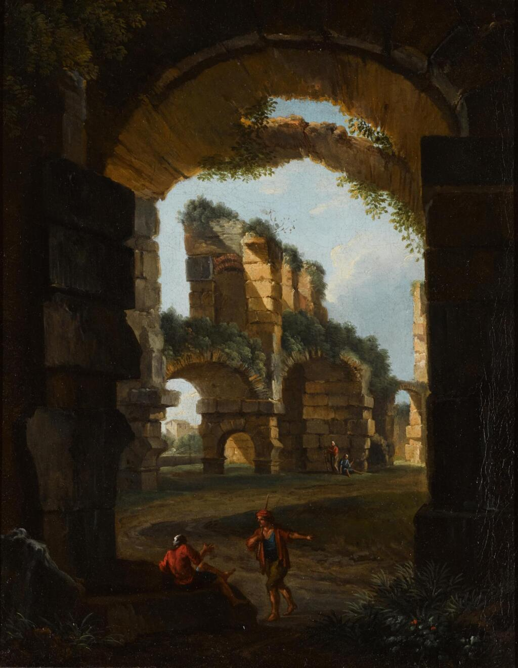 ROMAN SCHOOL, 17TH CENTURY | A classical landscape with figures by ruins