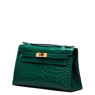 View 4. Thumbnail of Lot 71. Cactus Kelly Pochette in Shiny Alligator Mississippiensis with Gold Hardware, 2012.