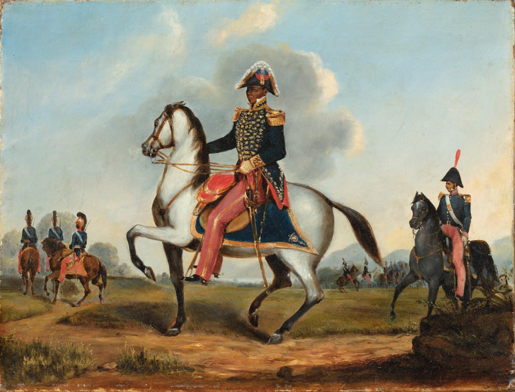 View full screen - View 1 of Lot 198. Portrait of François Dominique Toussaint Louverture (1743-1803) in uniform, mounted on his horse.