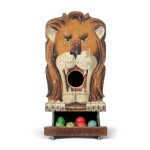 POLYCHROME PAINT-DECORATED PINE 'LION' CARNIVAL TOSS GAME WITH BOX , LATE 19TH OR EARLY 20TH CENTURY