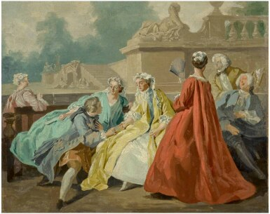 View 1. Thumbnail of Lot 15. CIRCLE OF JEAN FRANÇOIS DE TROY   A GROUP OF ELEGANT FIGURES SEATED IN A PARK.