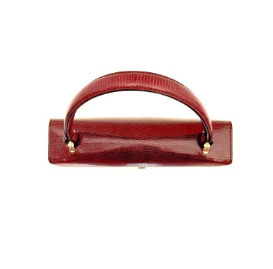 View 7. Thumbnail of Lot 725. GUCCI   BURGUNDY VINTAGE BAG IN LIZARD, c.1960s.