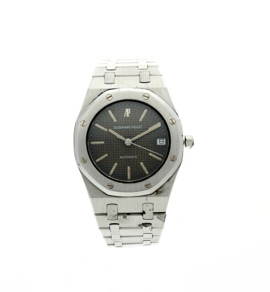 View 1. Thumbnail of Lot 112. REFERENCE 4100 ROYAL OAK A STAINLESS STEEL AUTOMATIC WRISTWATCH WITH DATE AND BRACELET, CIRCA 1975.