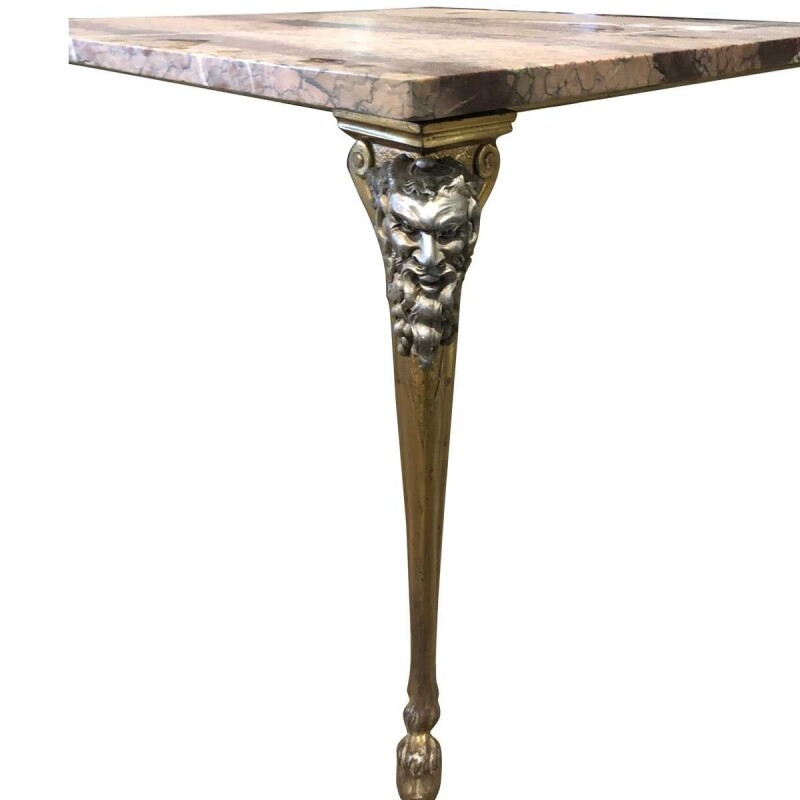 Art Nouveau Square Side Table With Satyrs