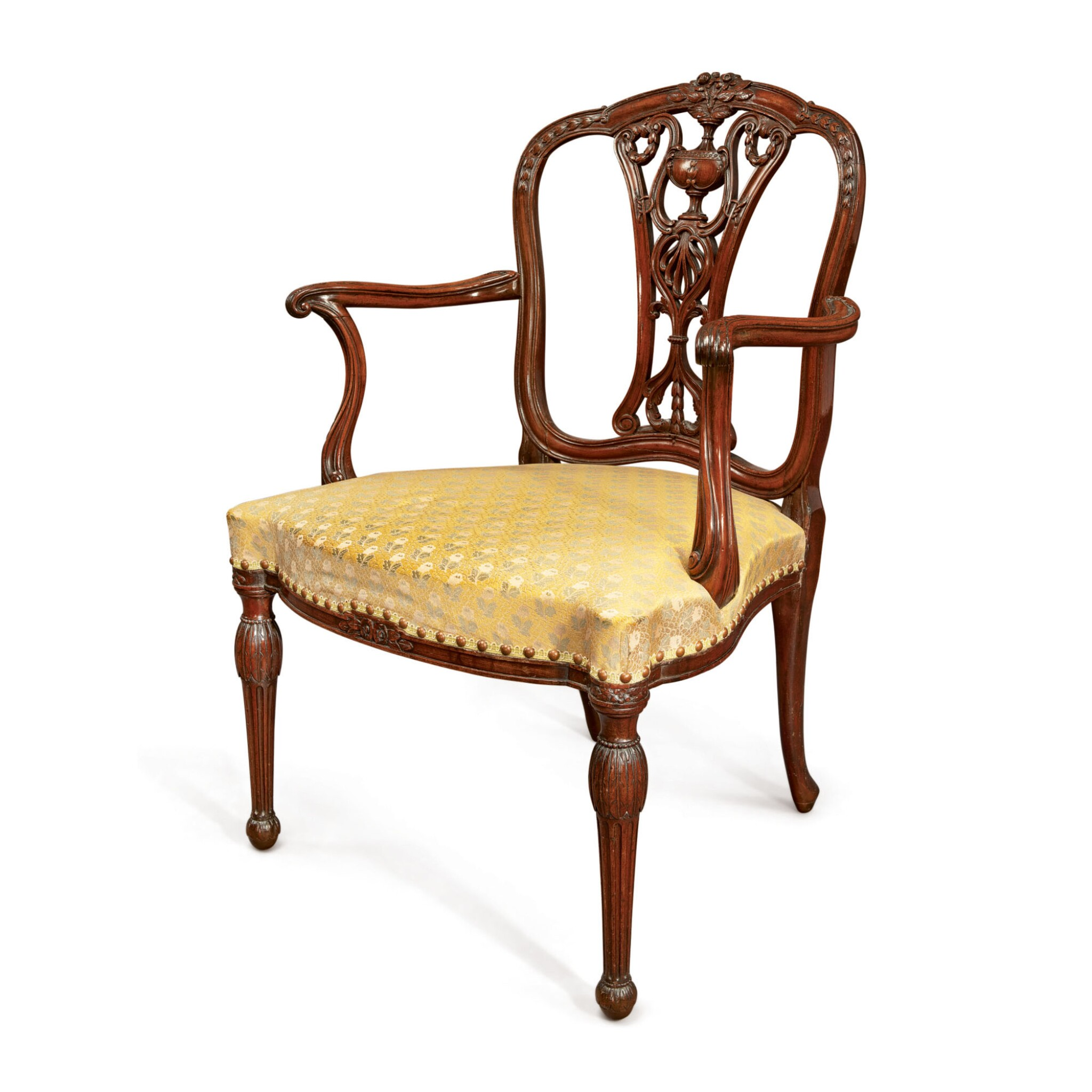 View full screen - View 1 of Lot 602. A GEORGE III MAHOGANY OPEN ARMCHAIR ATTRIBUTED TO WILLIAM LINNELL, CIRCA 1775.