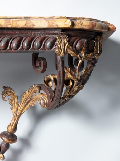 A Louis XV wrought iron, red painted and parcel gilt tole and brèche d'Alep console table circa 1740, Provence