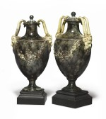 A PAIR OF WEDGWOOD AND BENTLEY CREAMWARE 'PORPHYRY' TWO-HANDLED VASES AND COVERS CIRCA 1768-80