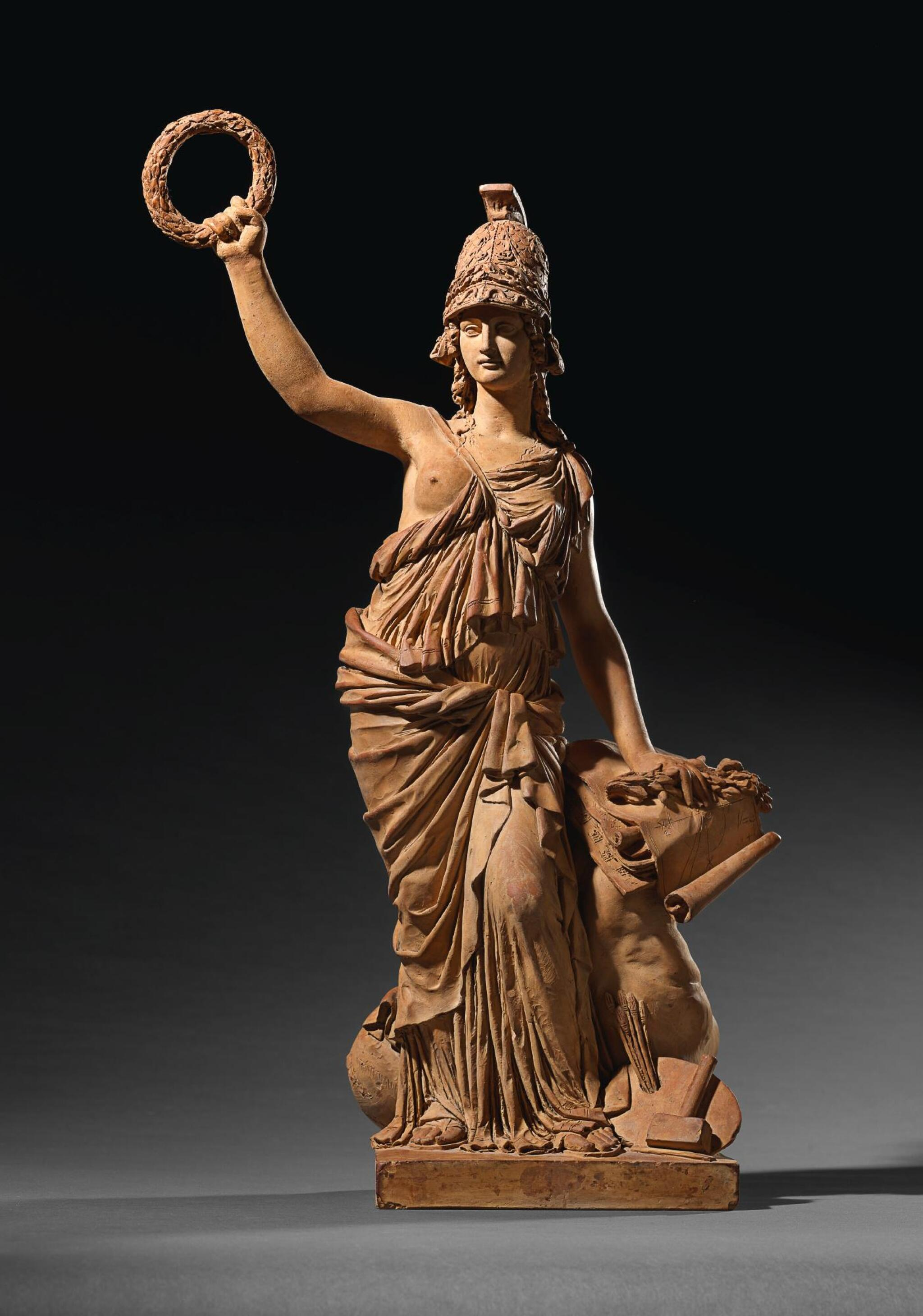 View full screen - View 1 of Lot 100. CIRCLE OF JOSEPH CHINARD (1756-1813), FRENCH, CIRCA 1790-1800   MINERVA PROTECTING THE ARTS AND SCIENCES.