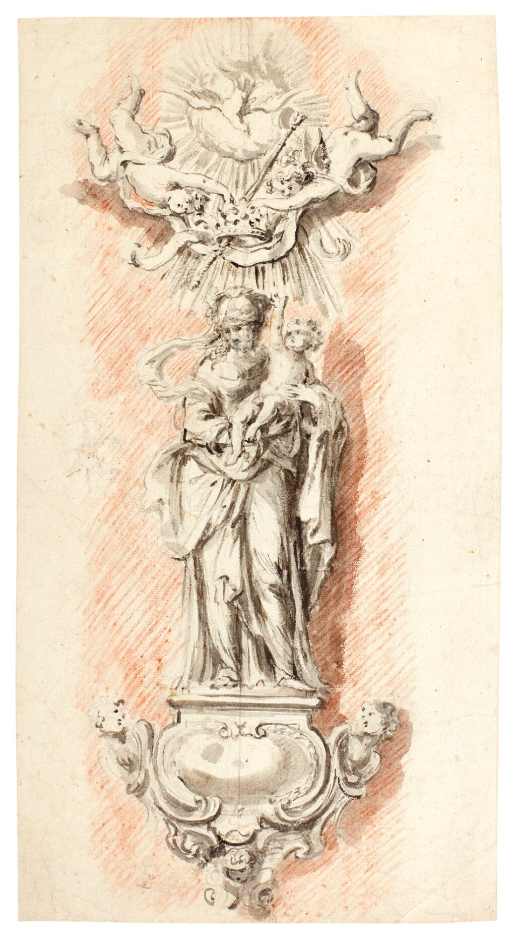 WILLEM KERRICX   STUDY FOR A PILLAR STATUE OF THE VIRGIN AND CHILD CROWNED BY ANGELS