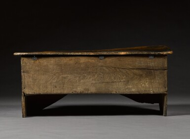View 8. Thumbnail of Lot 5. A rare English oak boarded and relief carved chest, late 15th / early 16th century.