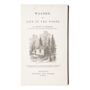THOREAU, HENRY DAVID | Walden: or, Life in the Woods. Boston: Ticknor and Fields, 1854