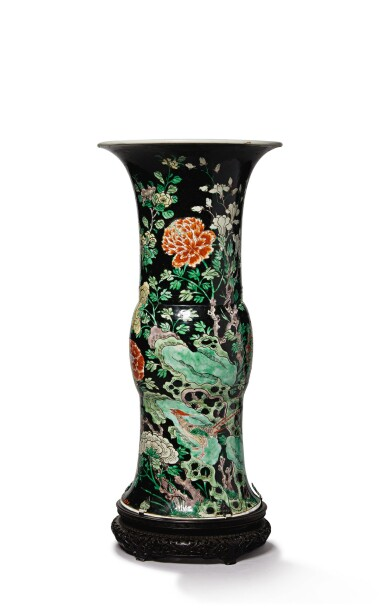 View 1. Thumbnail of Lot 1033. A FAMILLE-NOIRE 'BIRD AND FLOWER' BEAKER VASE, THE PORCELAIN 18TH CENTURY, THE ENAMELS LATER-ADDED.
