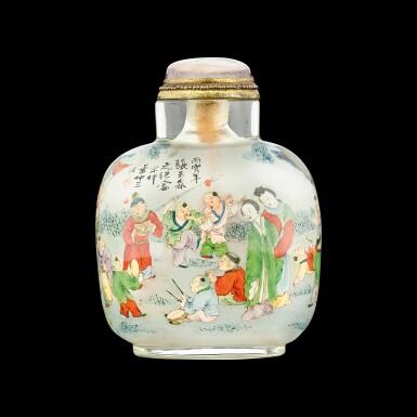 View 1. Thumbnail of Lot 1024. An inside-painted glass 'boys' snuff bottle By Ye Zhongsan, dated bingyin year, corresponding to 1926   丙寅(1926年) 葉仲三作玻璃內畫嬰戲圖鼻煙壺.