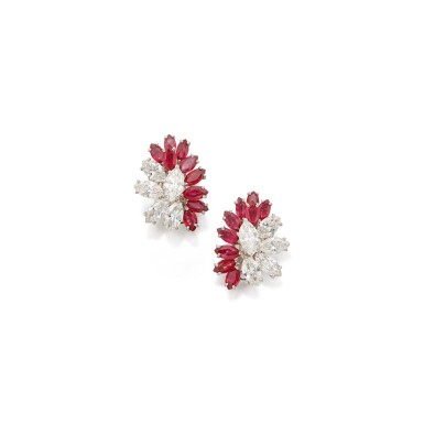 PAIR OF RUBY AND DIAMOND EARCLIPS, CARTIER