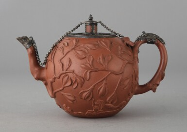 View 2. Thumbnail of Lot 485. A CHINESE YIXING SILVER-MOUNTED 'SQUIRREL AND MAGNOLIA' TEAPOT AND COVER QING DYNASTY, 18TH CENTURY | 清十八世紀 宜興紫砂鑲銀松鼠玉蘭紋壺 .
