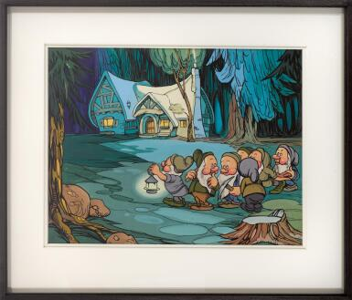 SNOW WHITE AND THE SEVEN DWARFS (1937) ORIGINAL ARTWORK, 'DWARFS OUTSIDE COTTAGE AT NIGHT', BRITISH
