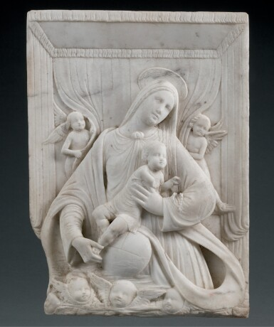 ATTRIBUTED BENEDETTO BRIOSCO (1460–1514) AND WORKSHOP, ITALIAN, LOMBARDY, CIRCA 1500 | RELIEF WITH THE VIRGIN AND CHILD SURROUNDED BY ANGELS
