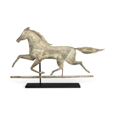 View 1. Thumbnail of Lot 3. VERY FINE AND RARE CARVED FULL BODIED PINE HORSE WEATHERVANE, NORTHEASTERN UNITED STATES, LATE 19TH CENTURY.