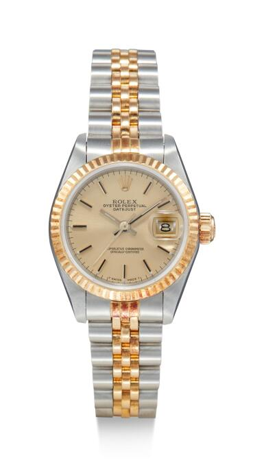 View 1. Thumbnail of Lot 8095. ROLEX   DATEJUST, REFERENCE 69173, A STAINLESS STEEL AND YELLOW GOLD WRISTWATCH WITH DATE AND BRACELET, CIRCA 1988.