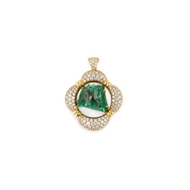 PENDENTIF EMERAUDE ET DIAMANTS, MELLERIO, 1992 | EMERALD AND DIAMOND PENDANT, MELLERIO, 1992
