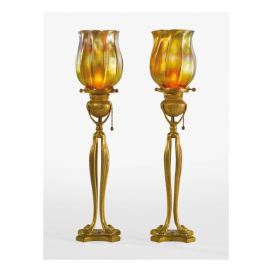 TIFFANY STUDIOS | PAIR OF CANDLE LAMPS