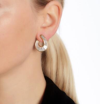 View 4. Thumbnail of Lot 70. Pair of diamond earrings.