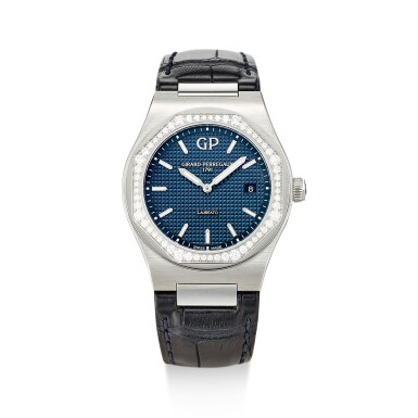 GIRARD-PERREGAUX   LAUREATO, REFERENCE 80189 A STAINLESS STEEL AND DIAMOND-SET WRISTWATCH WITH DATE, CIRCA 2016